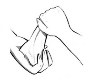 la paume de votre main doit envelopper le gland